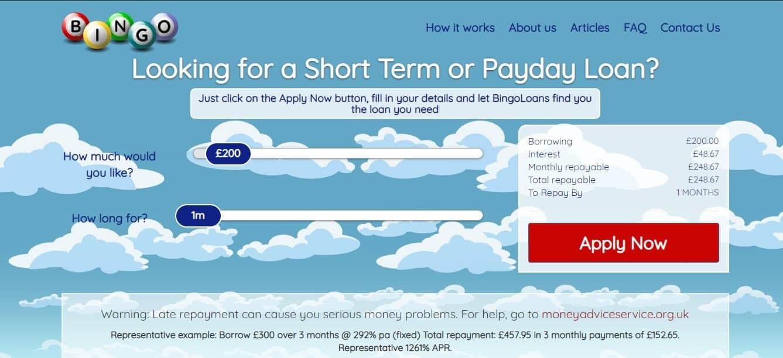 screengrab of Bingo loans homepage