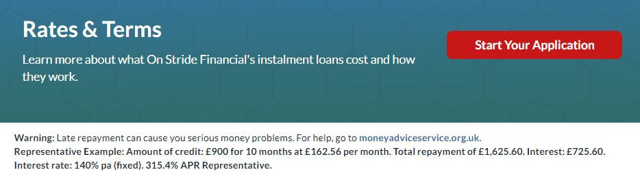Screen grab of Rates and Terms page of On Stride Financial company