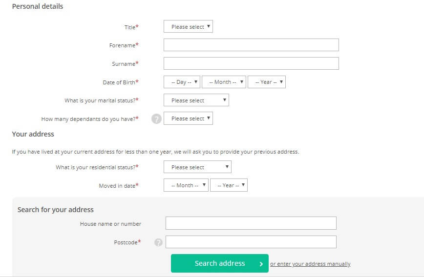 Satumo loans application page capturing personal info