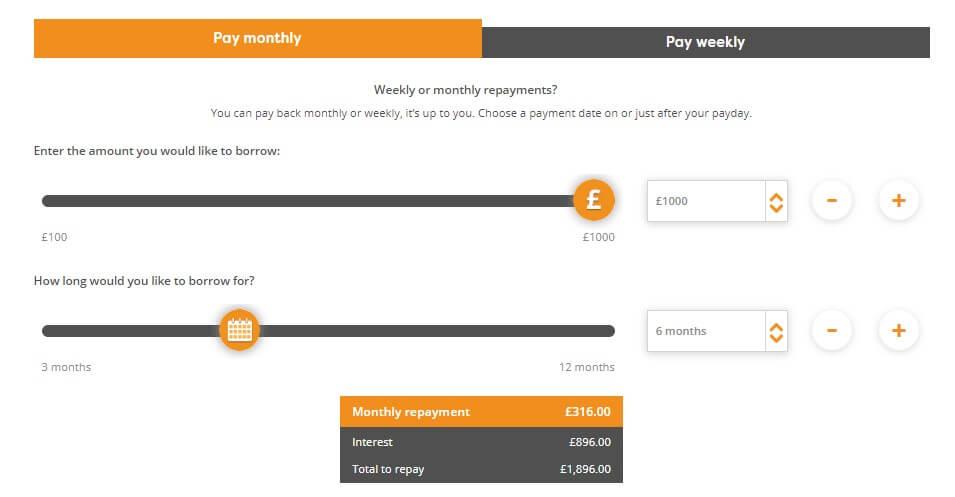 Satsuma loan application page capturing finacial details