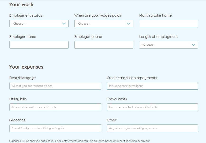 StepStone Credit loan application page