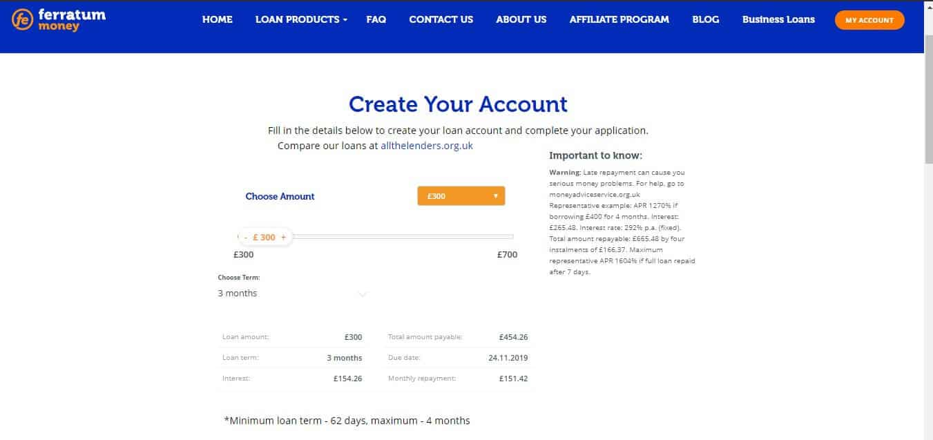 Borrower account creation page on FERRATUM website
