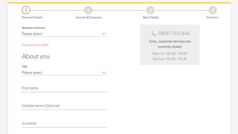 Loan application page of Sunny loans capturing personal information