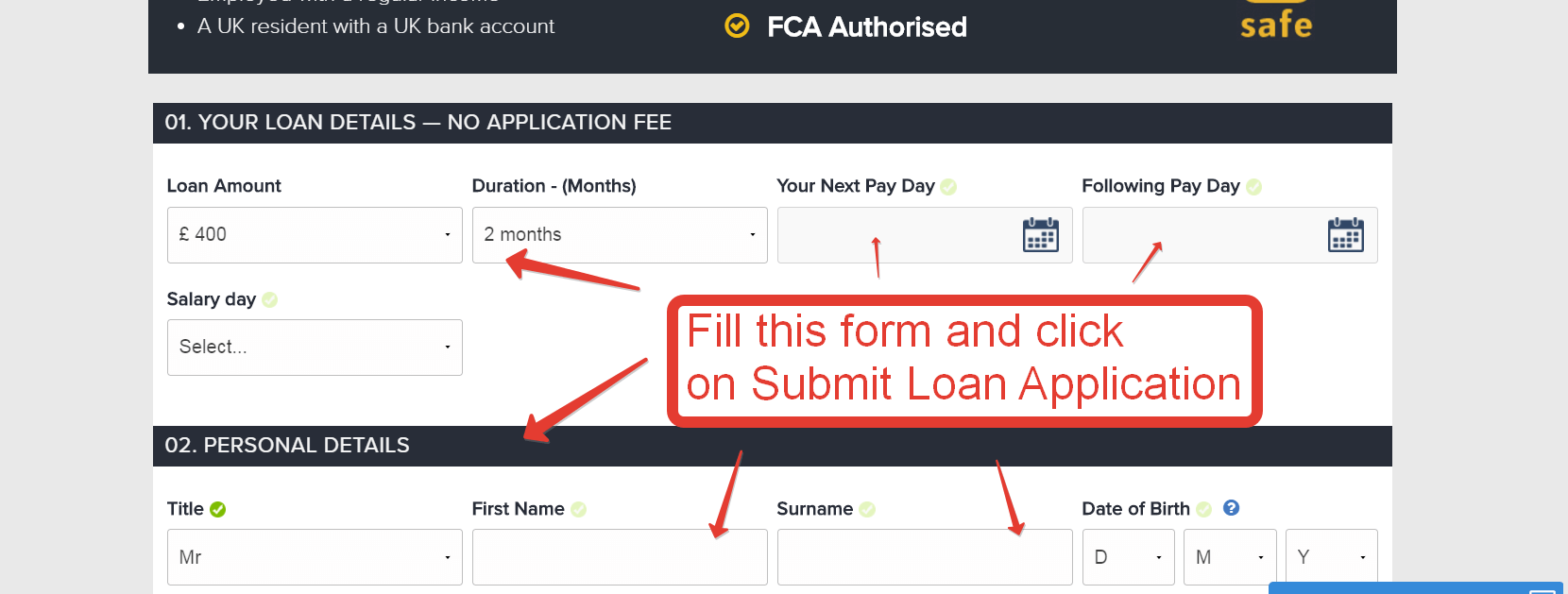 CashFloat registration page