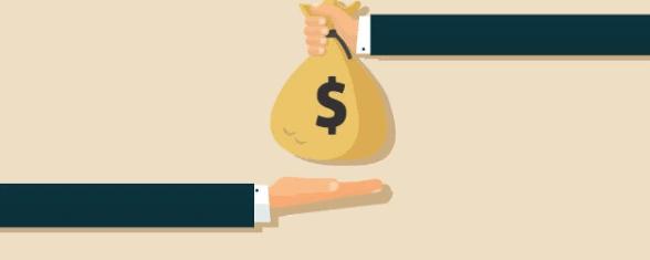 Cartoon hands exchanging a money bag wth a dollar symbol