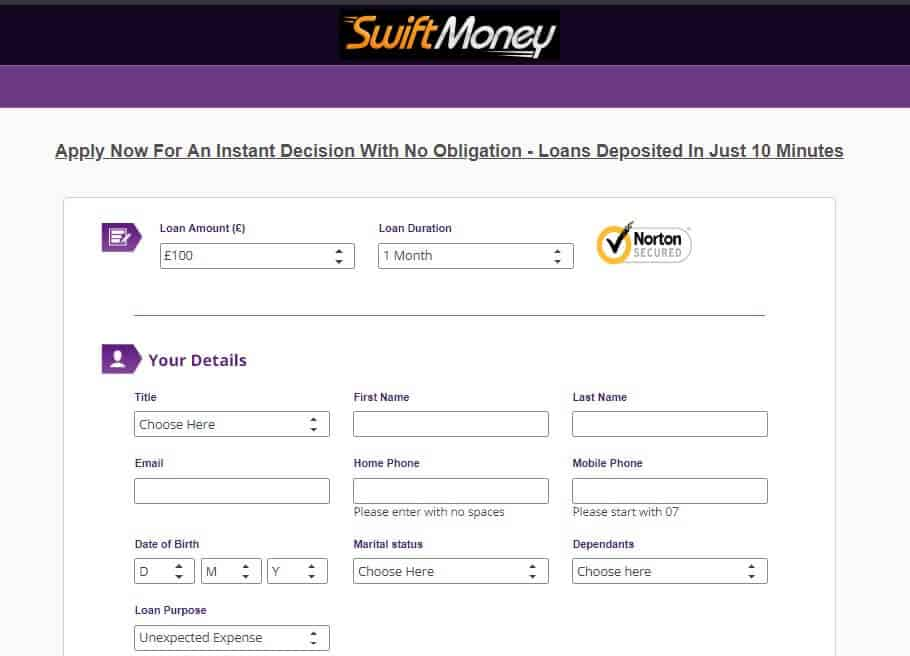 Swift Money loan applicatipn page capturing personal info