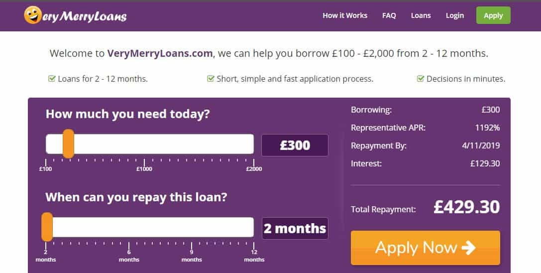 Screengrab of Very Merry Loans home page