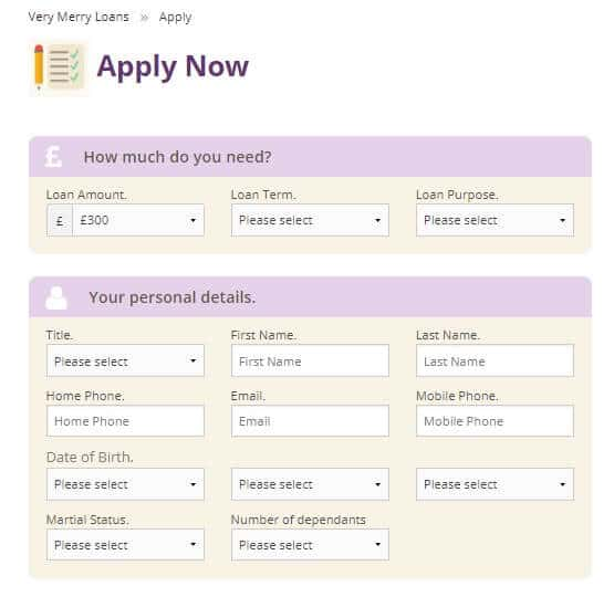 Very Merry Loans application page capturing personal info