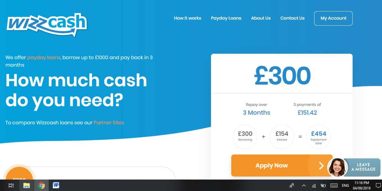 Screengrab of Wizzcash loans home page