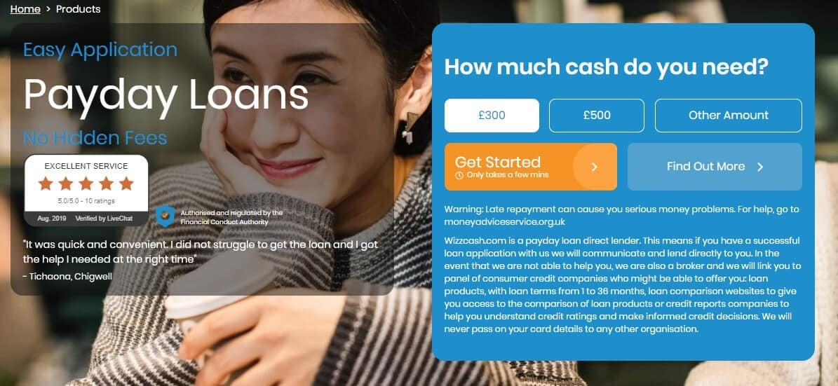 Woman smiling and holding a plastic cofee cup on the payday loan products page of Wizzcash