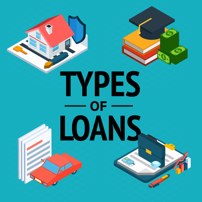 types of loans with a picture of a house, graduation hat, car and office set up