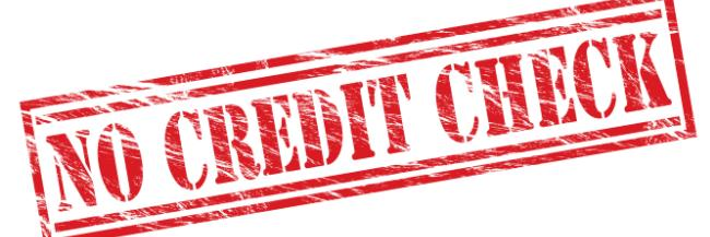no credit check banner in red