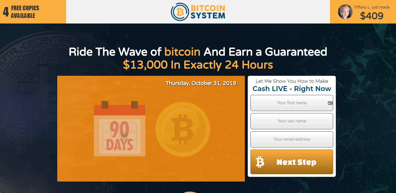 Bitcoin System Review : Bitcoin System Registration page