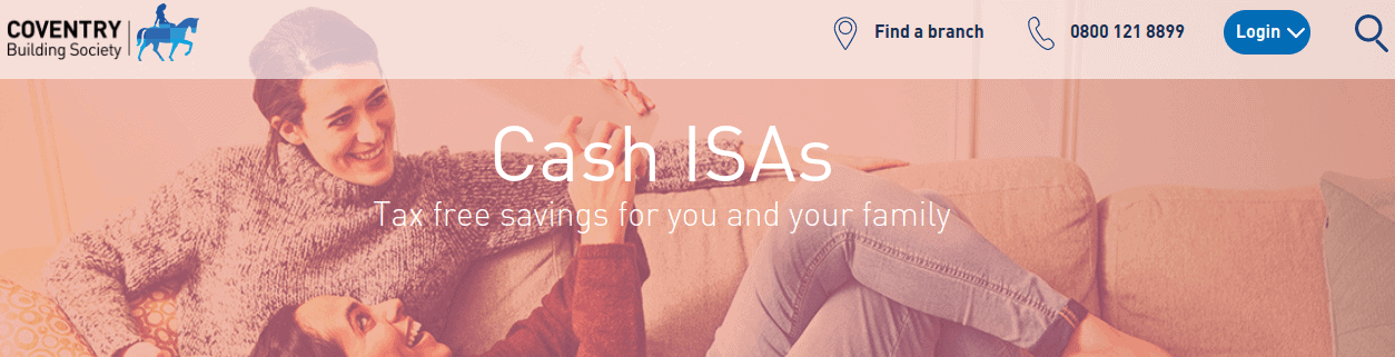 Screengrab of Coventry Building Society ISAs page