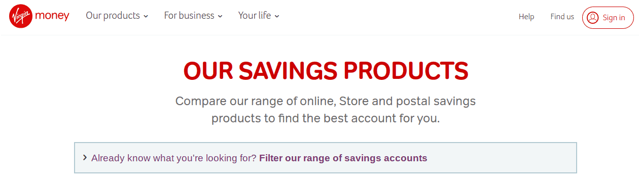 Screengrab of Virgin Money saving products page