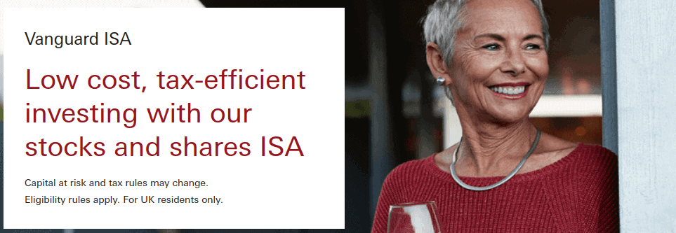 Vanguard shares and stock ISA page with a woman smiling in the background