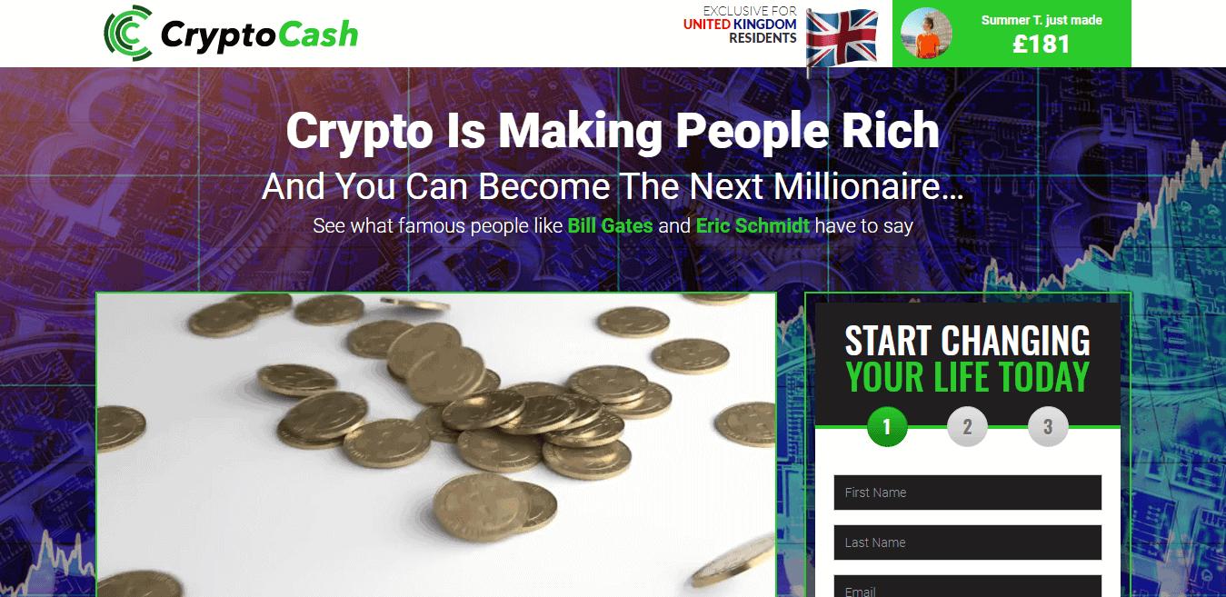 Crypto Cash Review: Crypto Cash Registration page