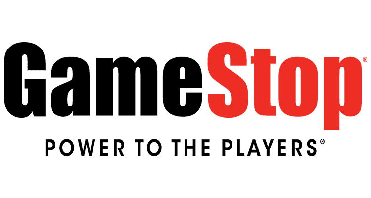 GameStop Power to the players logo in black and red colors