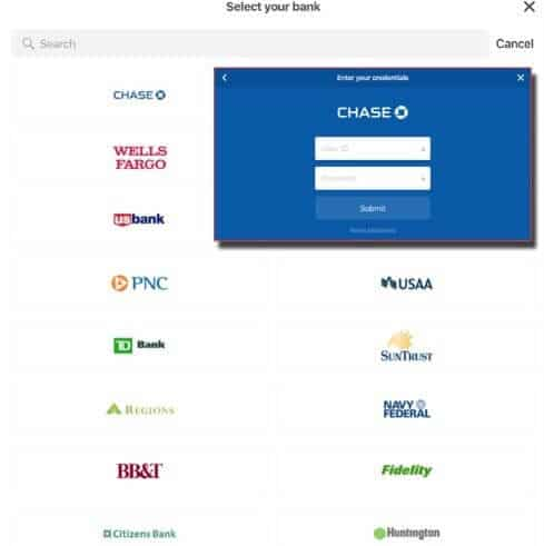 Bank selection page showing different types of banks