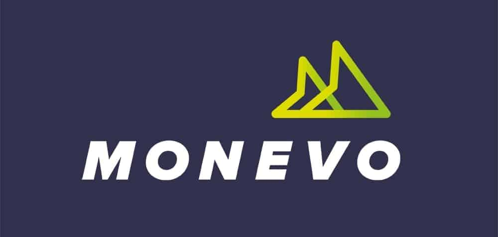 Monevo logo with two horizontal arrowheads against a navy blue background