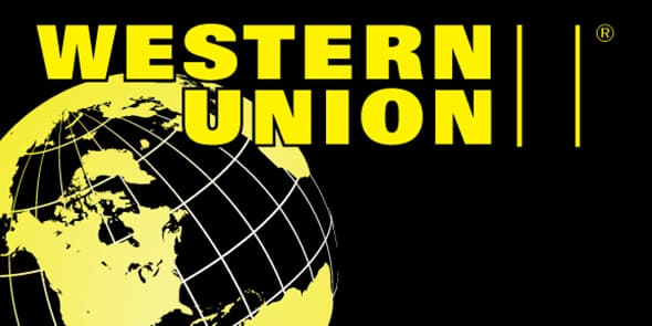 Western Union logo in yellow colors with circular world map in the background