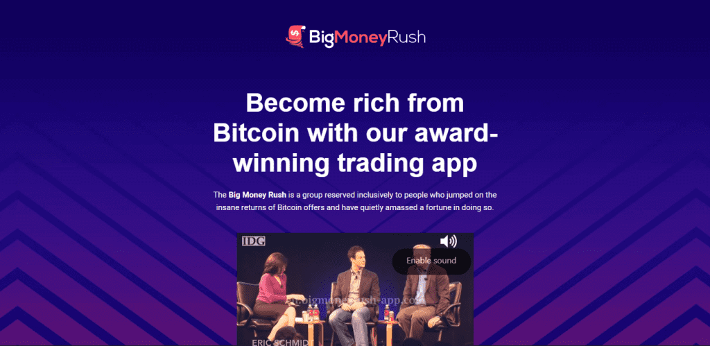 Screengrab of the BigMoneyRush home page and a video featuring three panelists