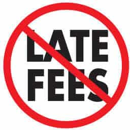 InboxLoan no late fees image: words LATE FEES in the cross-out circular NO road sign