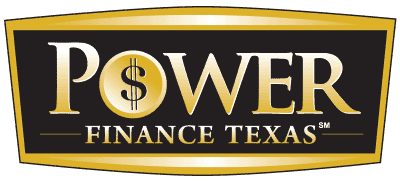 Power Finance Texas logo: engraved in gold black and gold