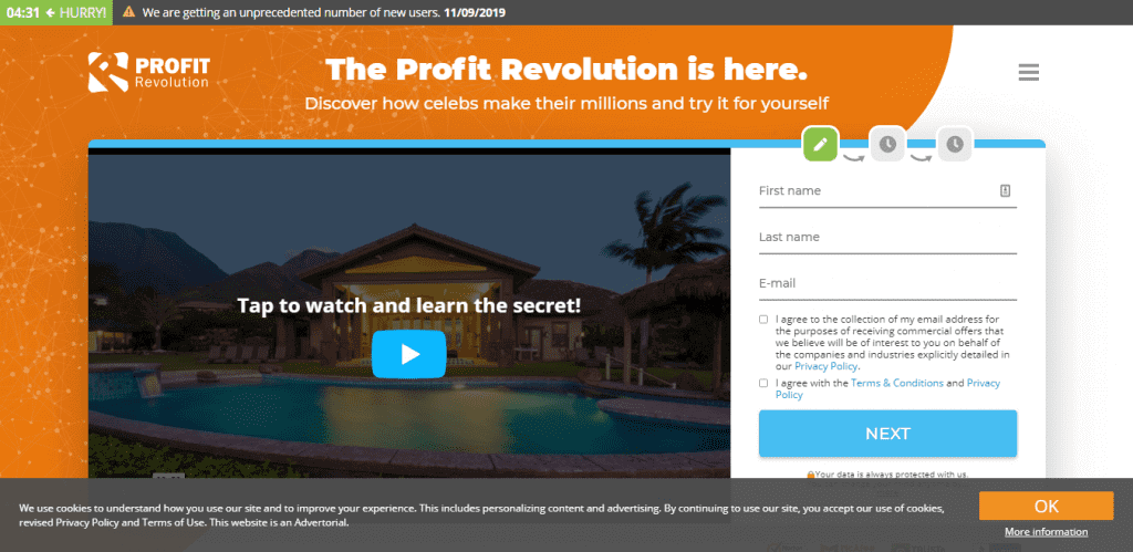 Video showing a house on Profit Revolution home page featuring a registration form