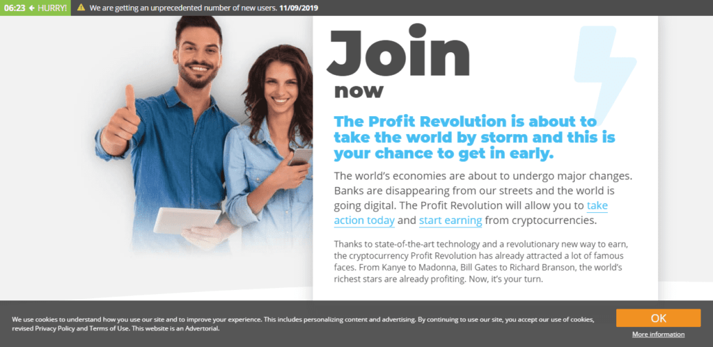 Smiling man holding tablet and woman holding phone on the Join Now page of Profit Revolt