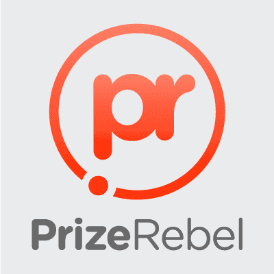 PrizeRebel surveys company logo with letters PR in a red circle