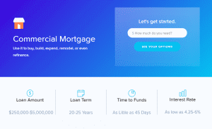 Screengrab of Lendio's commercial mortgage options