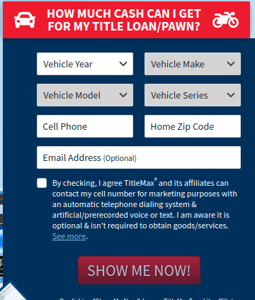 Loan amount inquiry page of TitleMax auto title loan company