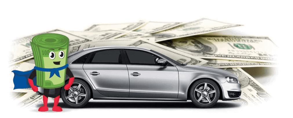 Cartooned roll of green cash bills besides a silver car besides and a pile of dollar bills - TitleMax