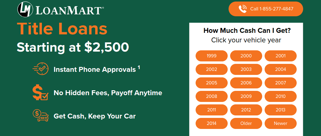LoanMart title loans page showing how much you get for your type of vehicle and phone number