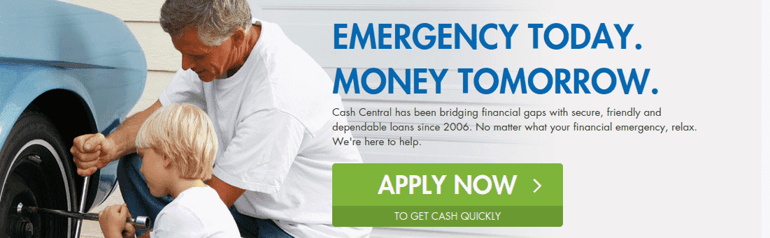 Man and child changing car tire with Cash Central APPLY NOW CTA dubbed emergency today money tomorrow