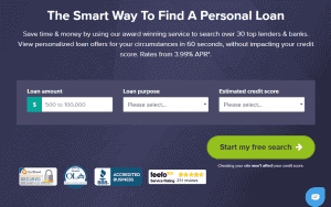 Personal loan application page of Monevo capturing loam amount, purpose, and credit score