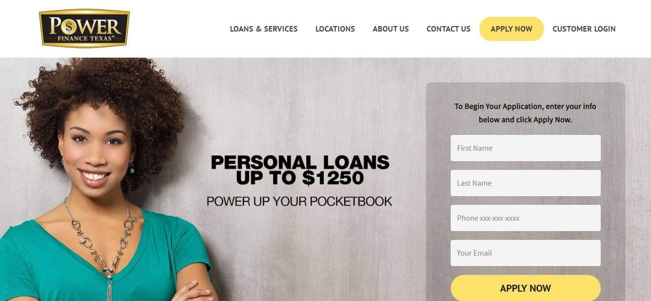 Smiling woman on the registration page of Power Finance Texas with apply now button with basic info requirements
