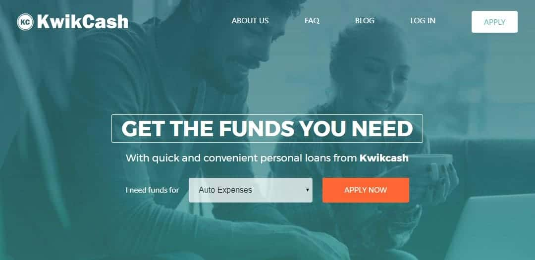 Man and woman smiling holding coffee on the home page of Kwikcash