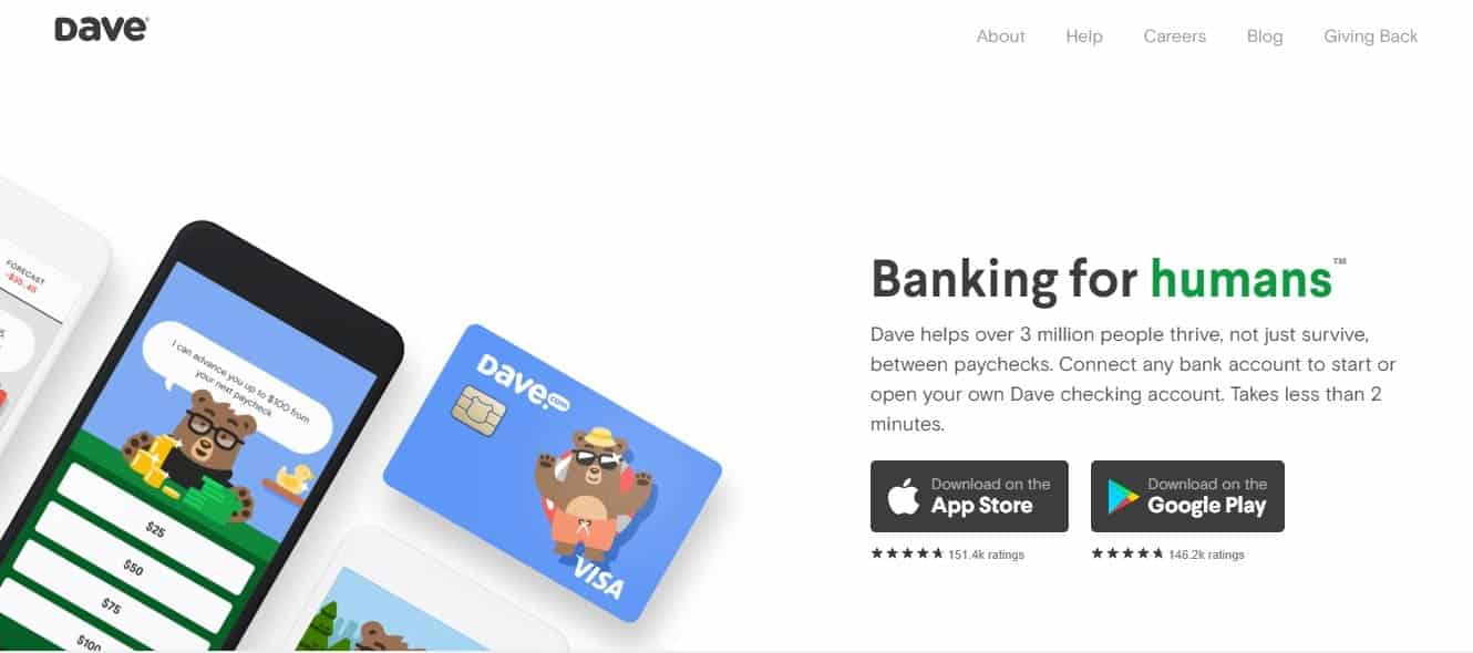 Smartphone with a bear on display alongside a VISA card on Dave.com loan app home page