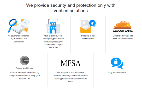 A screen grab of the different security and data protection measures employed by Business Club