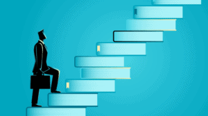 Illustration of man with a briefcase climbing a flight of stairs