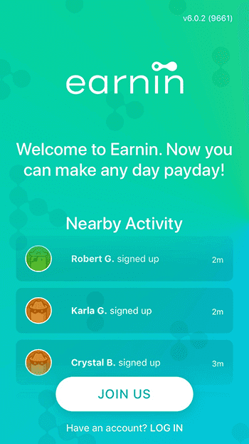 Screengrab of Earnin app's registration page with the Join Us call to action