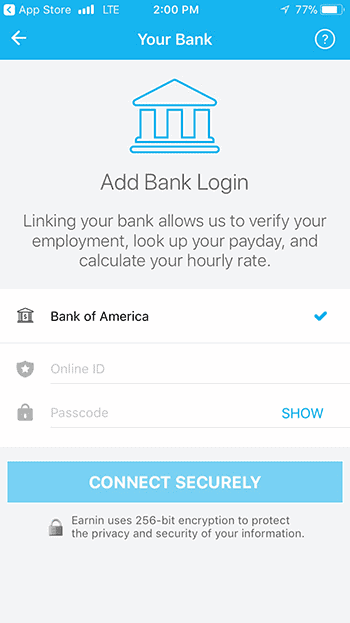 Earnin bank verification page requiring borrower to link app with their American Bank account