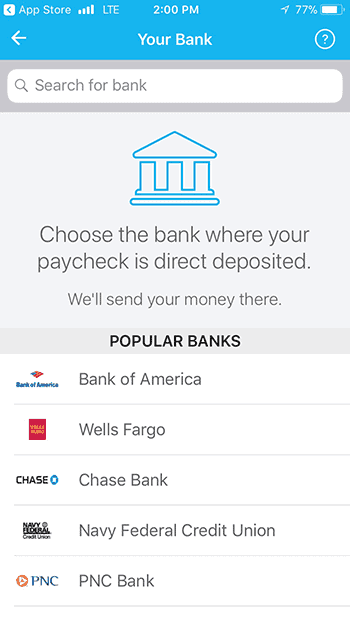 Earnin payment method page listing popular banks where app deposits approved loans