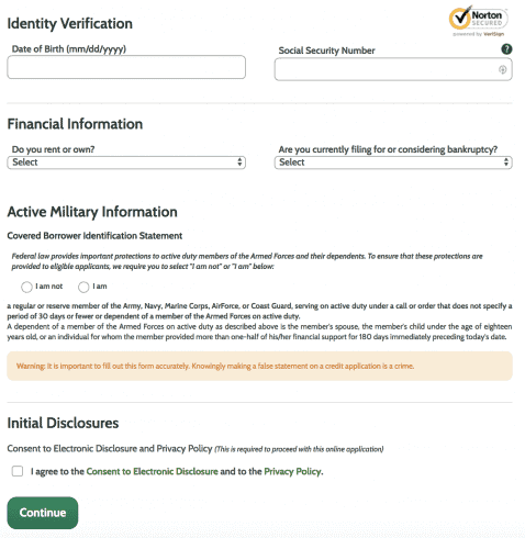 Identity verification page of Ace Cash Express