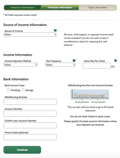 Source of income page Ace Cash Express client registration