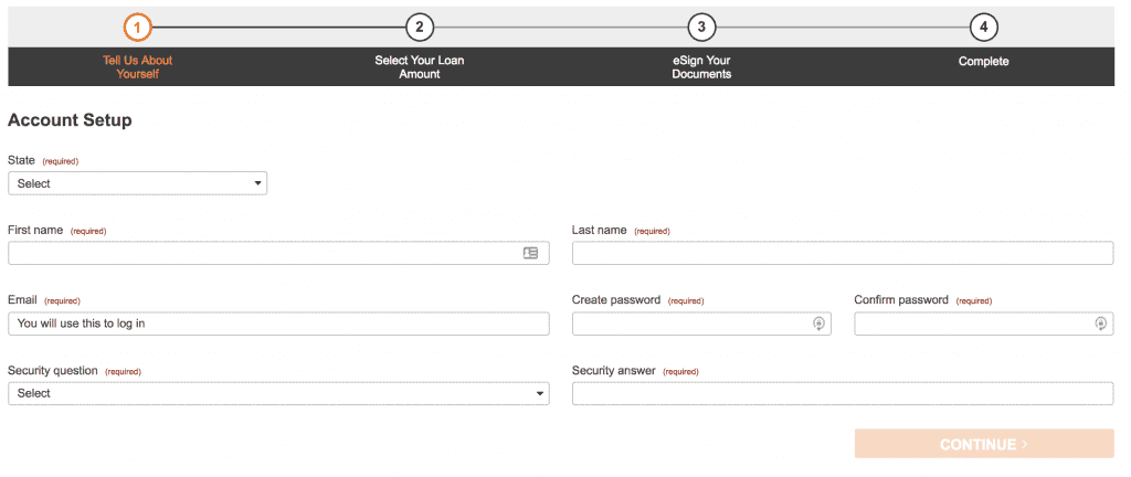 Screengrab of Check n Go account creation page