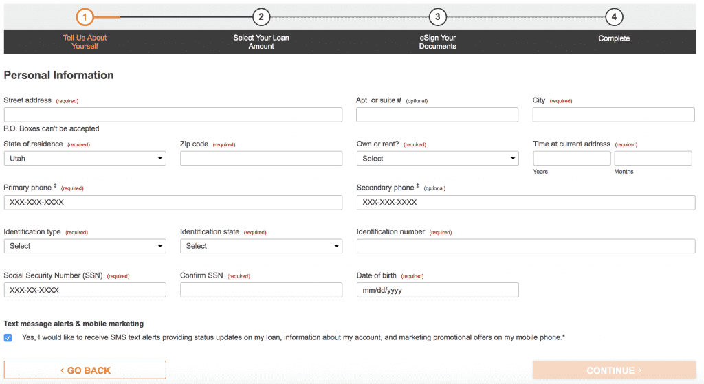 Screengrab of Check n Go account creation page capturing user's personal info