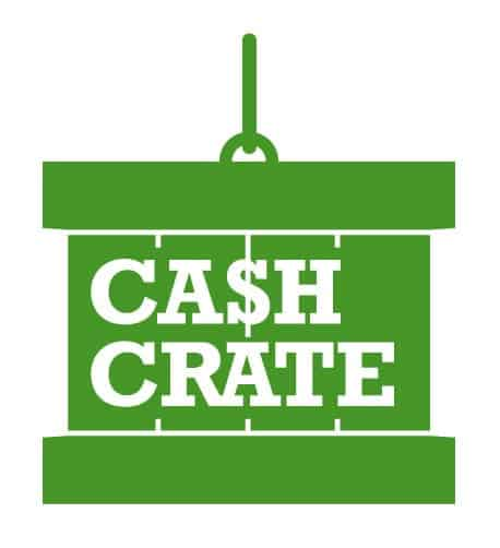 CashCrate surveys company logo in white against a green background